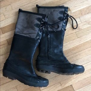 UGGS Black leather Waterproof Boots